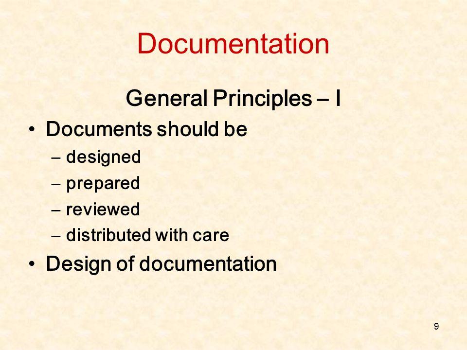 Documentation General Principles – I Documents should be