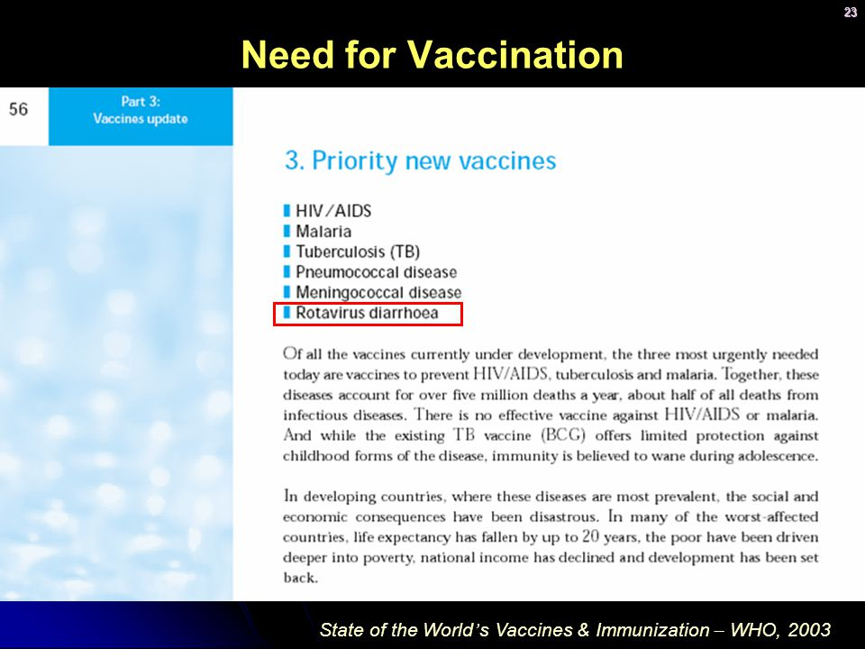 Need for Vaccination State of the World's Vaccines & Immunization – WHO, 2003