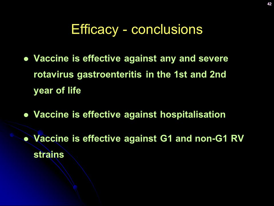 Efficacy - conclusions