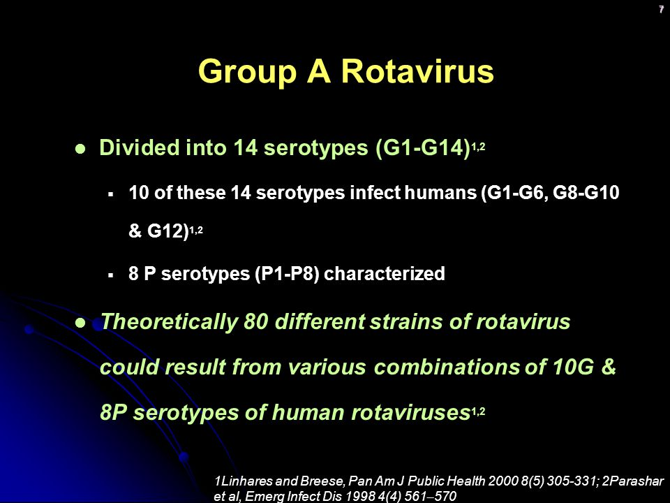 Group A Rotavirus Divided into 14 serotypes (G1-G14)1,2