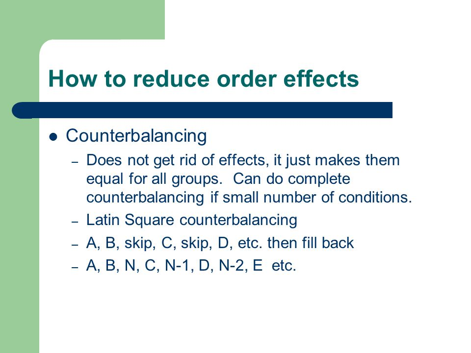 How to reduce order effects