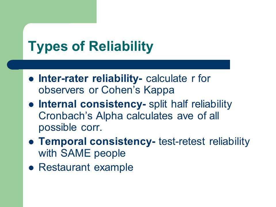an analysis of the types of reliability and validity