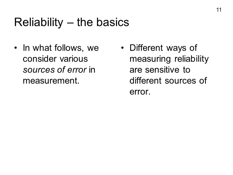 Reliability – the basics