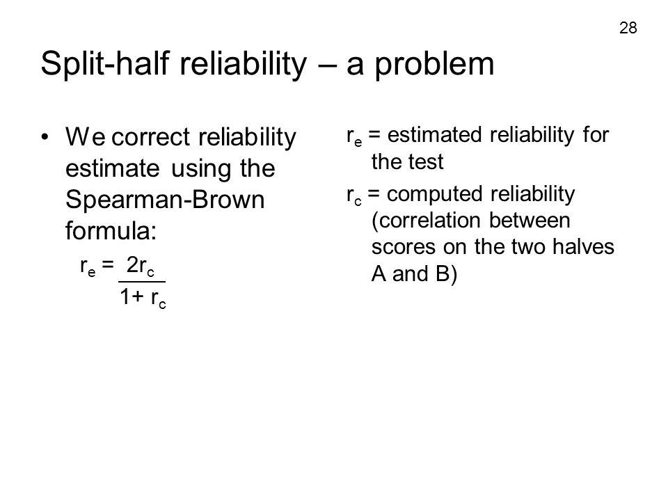 Split-half reliability – a problem