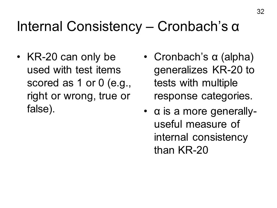 Internal Consistency – Cronbach's α