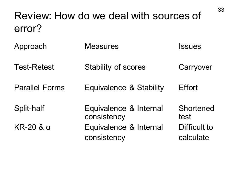 Review: How do we deal with sources of error