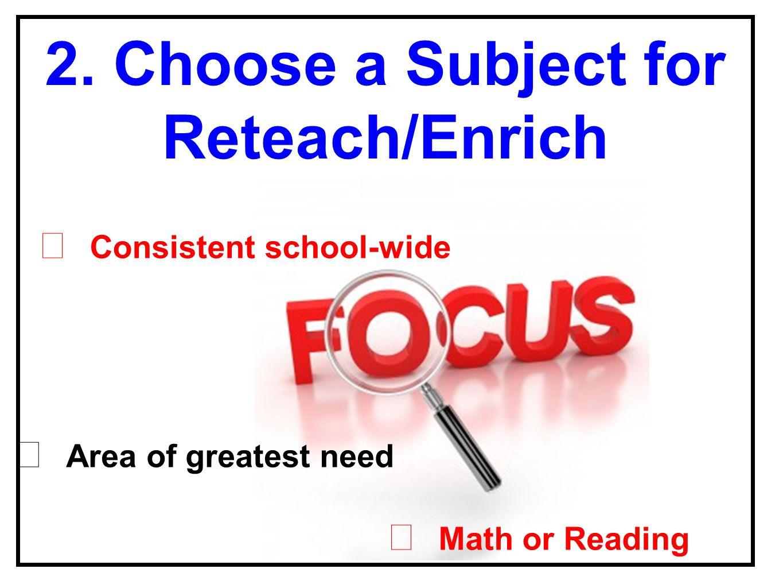 2. Choose a Subject for Reteach/Enrich