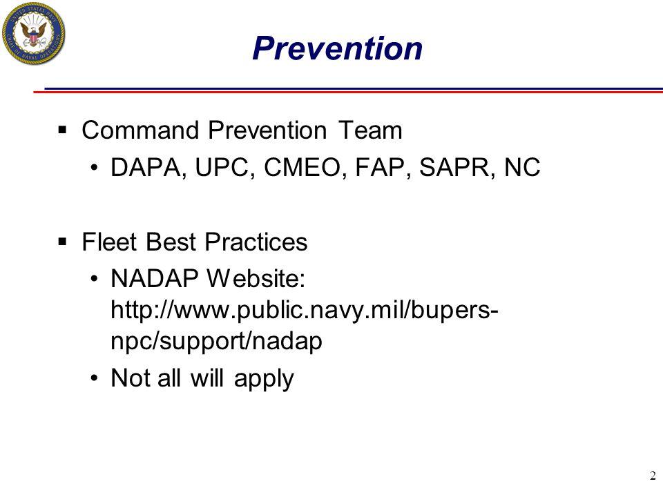 Prevention Command Prevention Team DAPA, UPC, CMEO, FAP, SAPR, NC