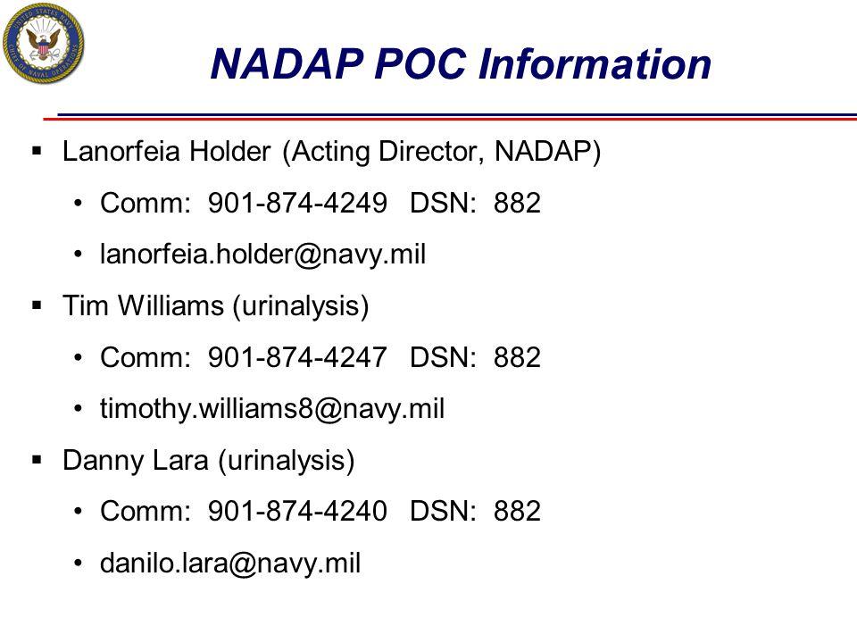 NADAP POC Information Lanorfeia Holder (Acting Director, NADAP)