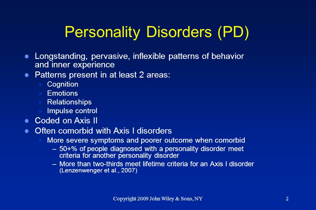 Personality Disorders (PD)