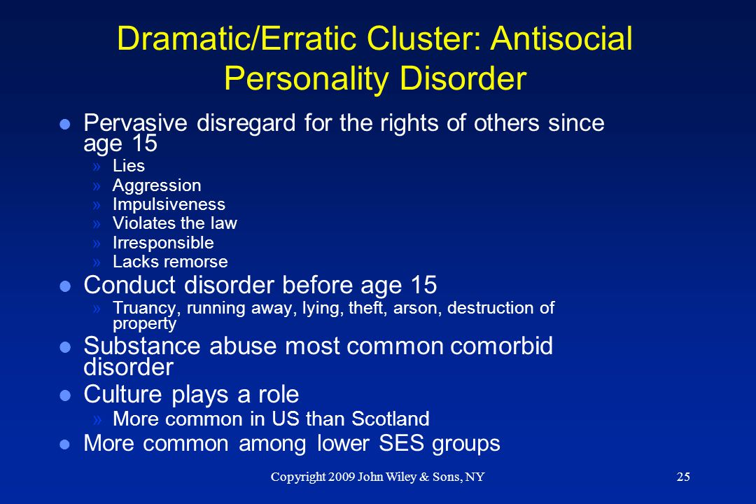 Dramatic/Erratic Cluster: Antisocial Personality Disorder