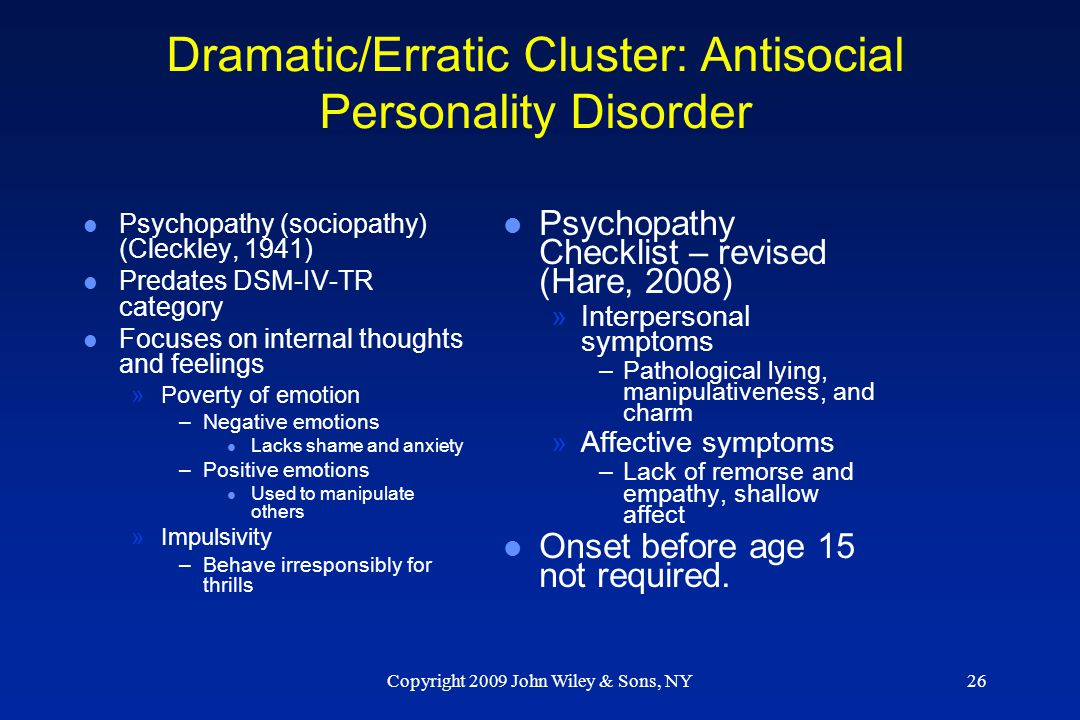 antisocial personality disorder an overview Personality disorders: review and clinical application in daily practice  typal personality disorder have intense  antisocial personality disorder has a.