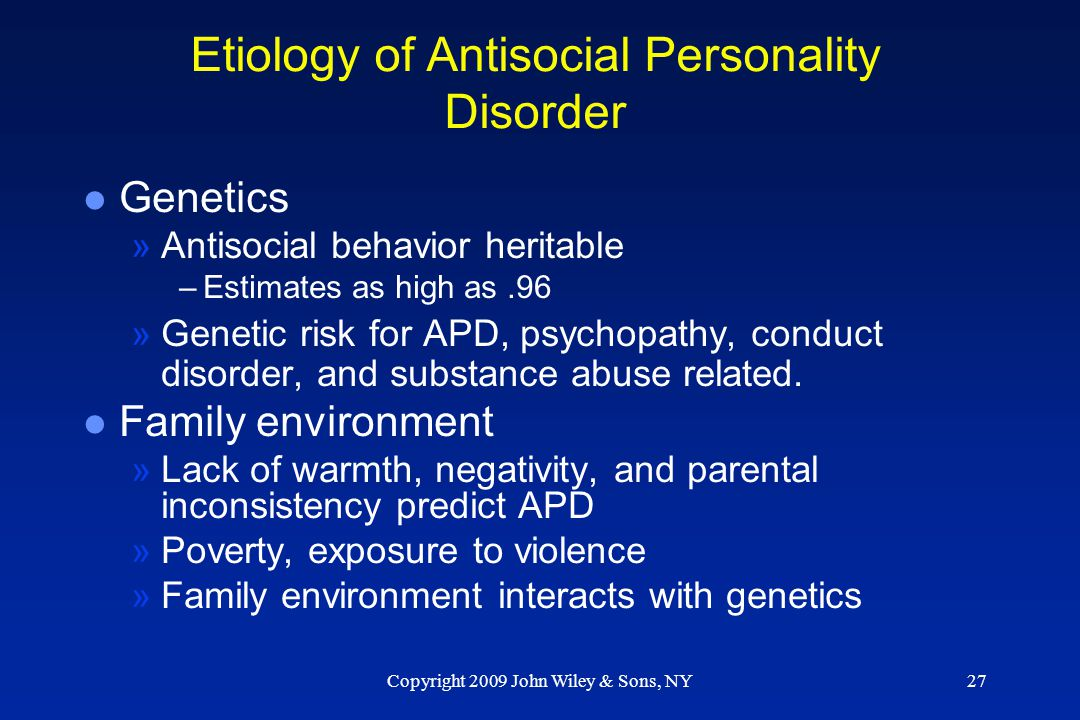 Etiology of Antisocial Personality Disorder