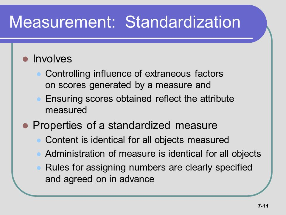 Measurement: Standardization