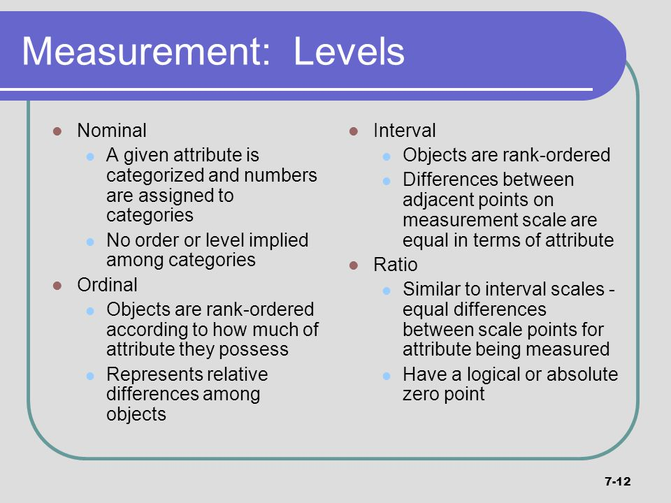 Measurement: Levels Nominal