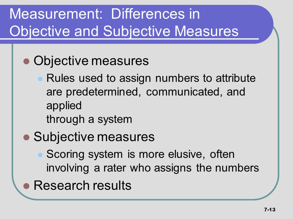 Measurement: Differences in Objective and Subjective Measures