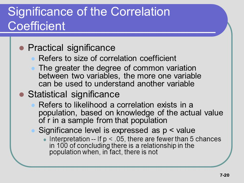 Significance of the Correlation Coefficient