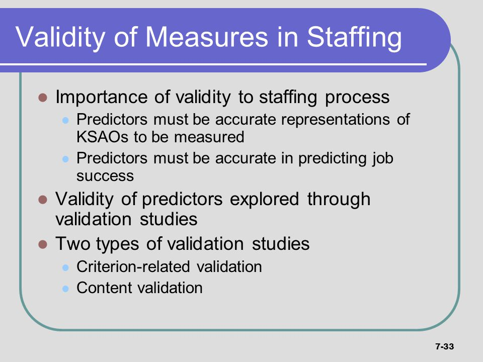 Validity of Measures in Staffing