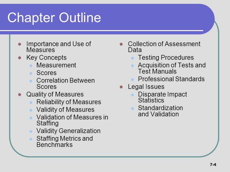 Chapter Outline Importance and Use of Measures Key Concepts