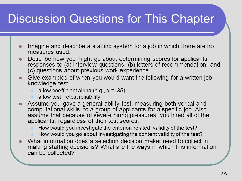 Discussion Questions for This Chapter
