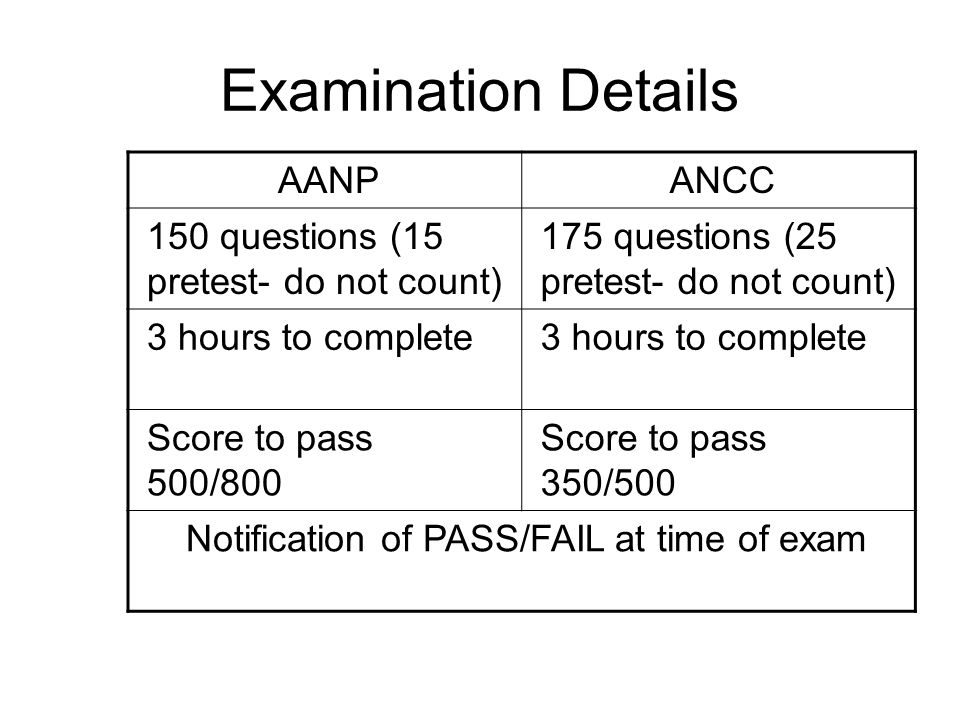 Notification of PASS/FAIL at time of exam