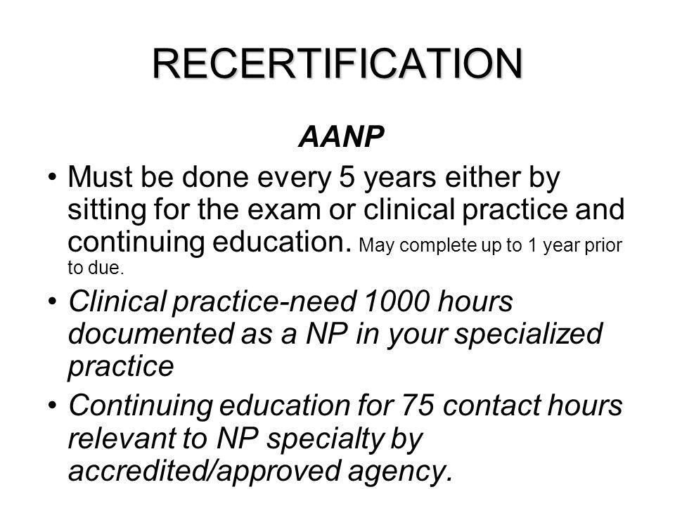RECERTIFICATION AANP.