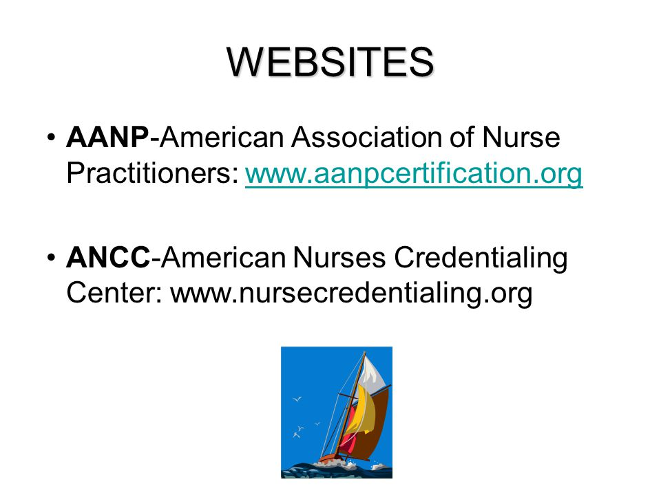 WEBSITES AANP-American Association of Nurse Practitioners: www.aanpcertification.org.