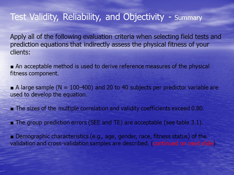 Test Validity, Reliability, and Objectivity - Summary