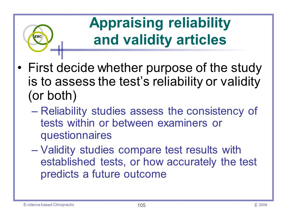Appraising reliability and validity articles