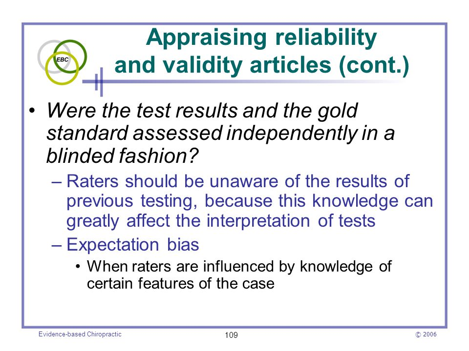 Appraising reliability and validity articles (cont.)