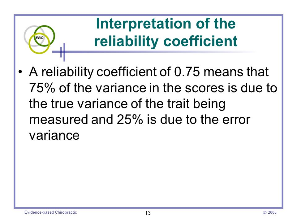 Interpretation of the reliability coefficient