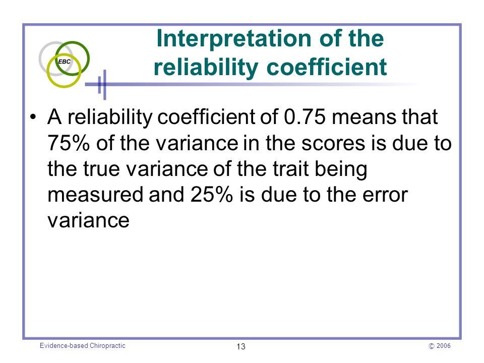 Interpretation of the reliability coefficient