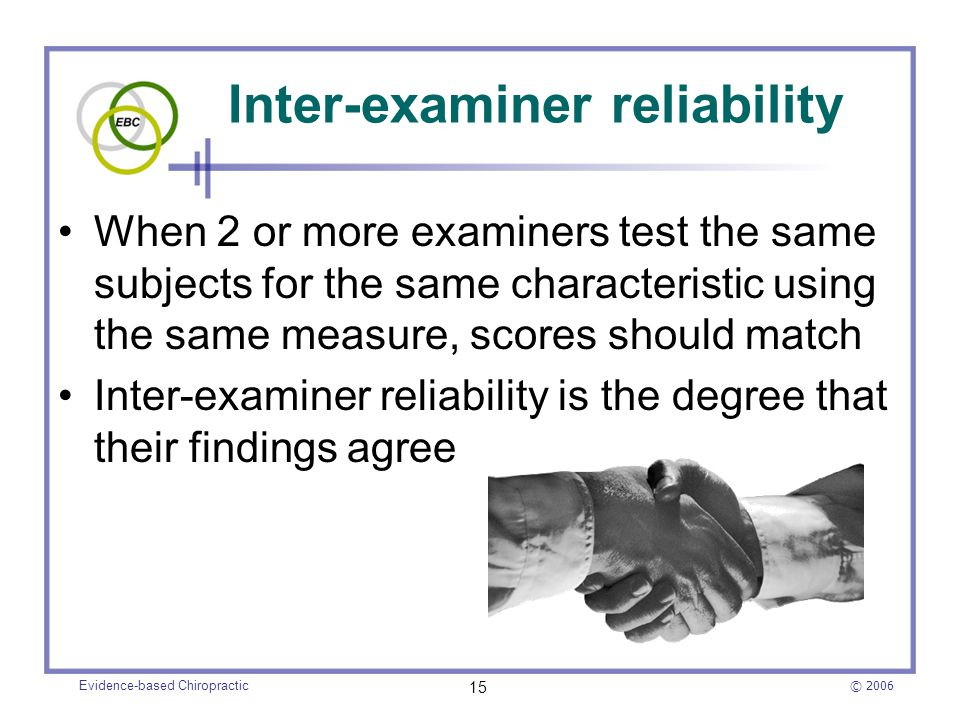 Inter-examiner reliability