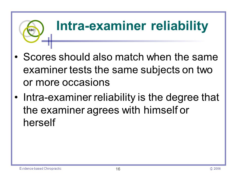 Intra-examiner reliability