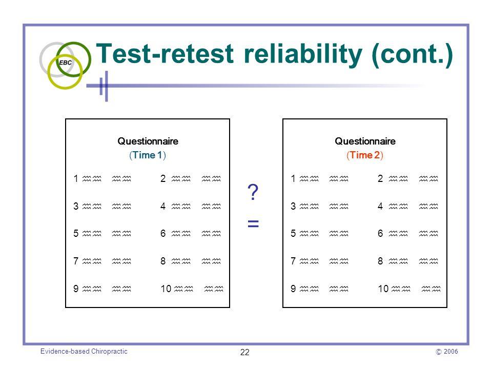 Test-retest reliability (cont.)