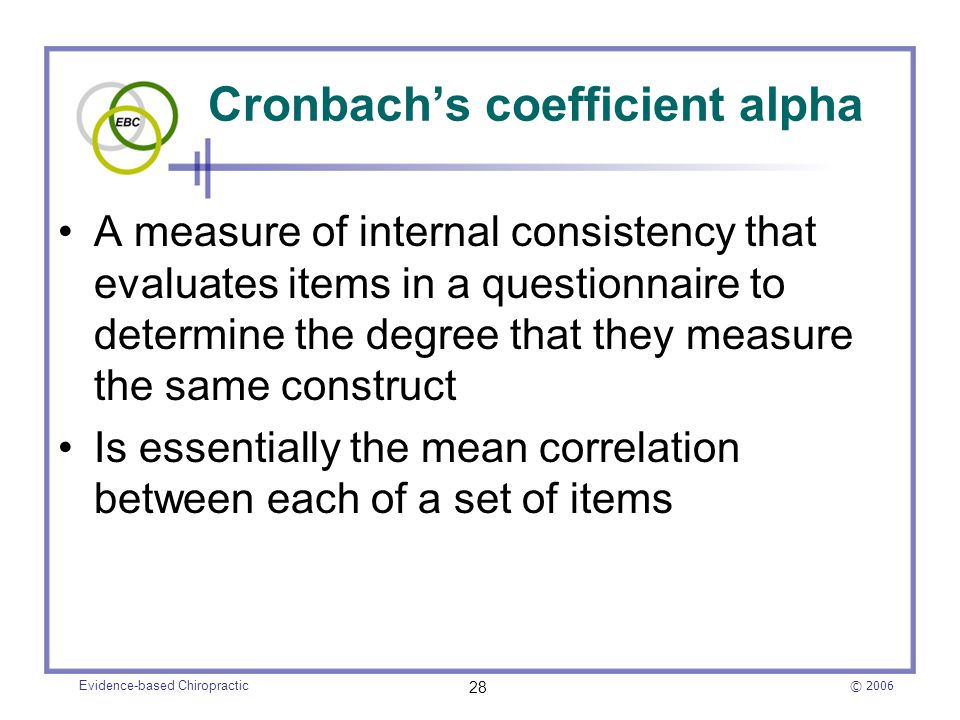 Cronbach's coefficient alpha