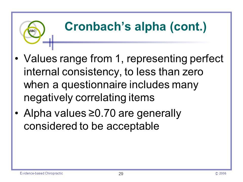Cronbach's alpha (cont.)