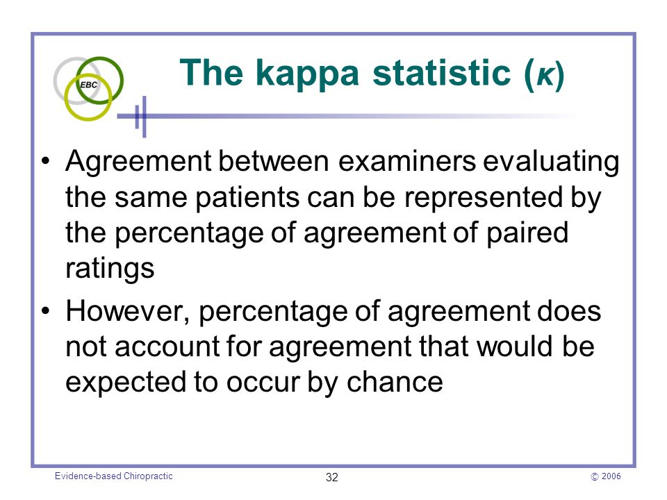 The kappa statistic (κ)