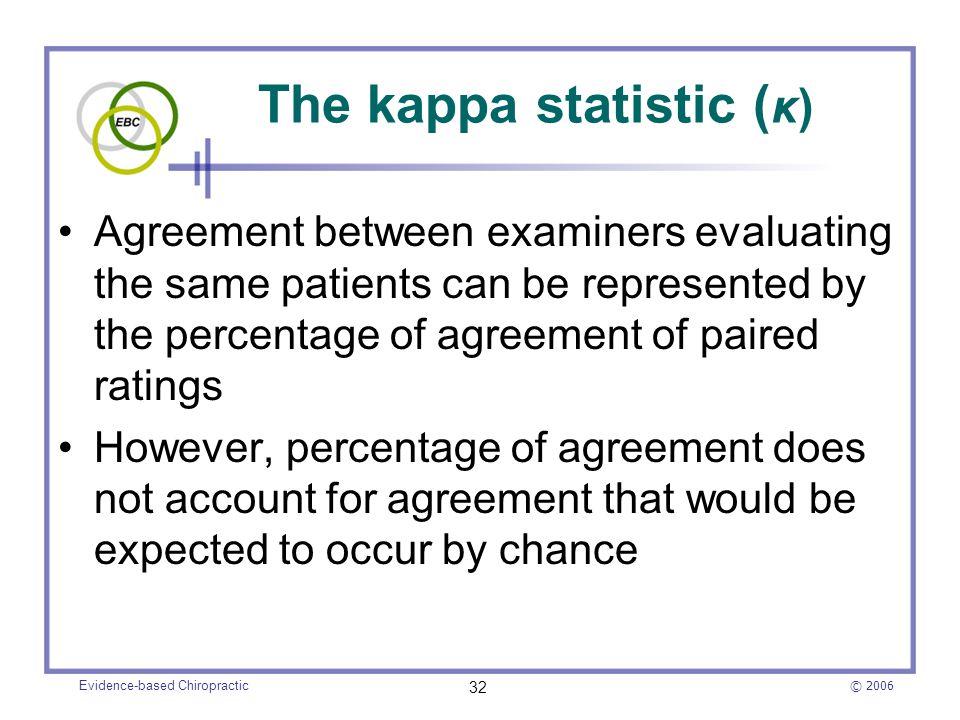 The kappa statistic (κ)