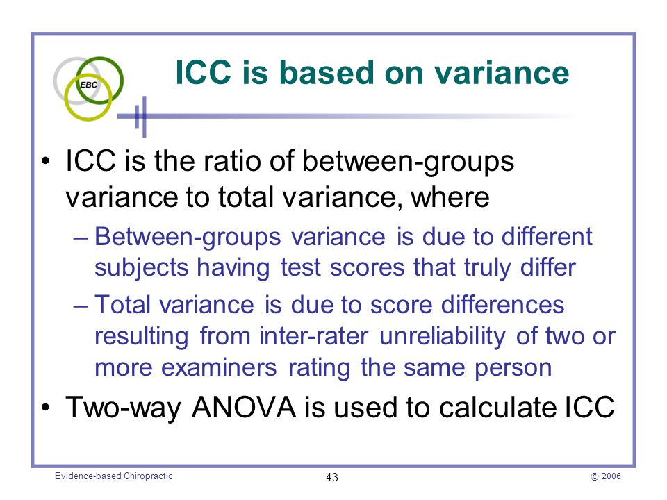 ICC is based on variance