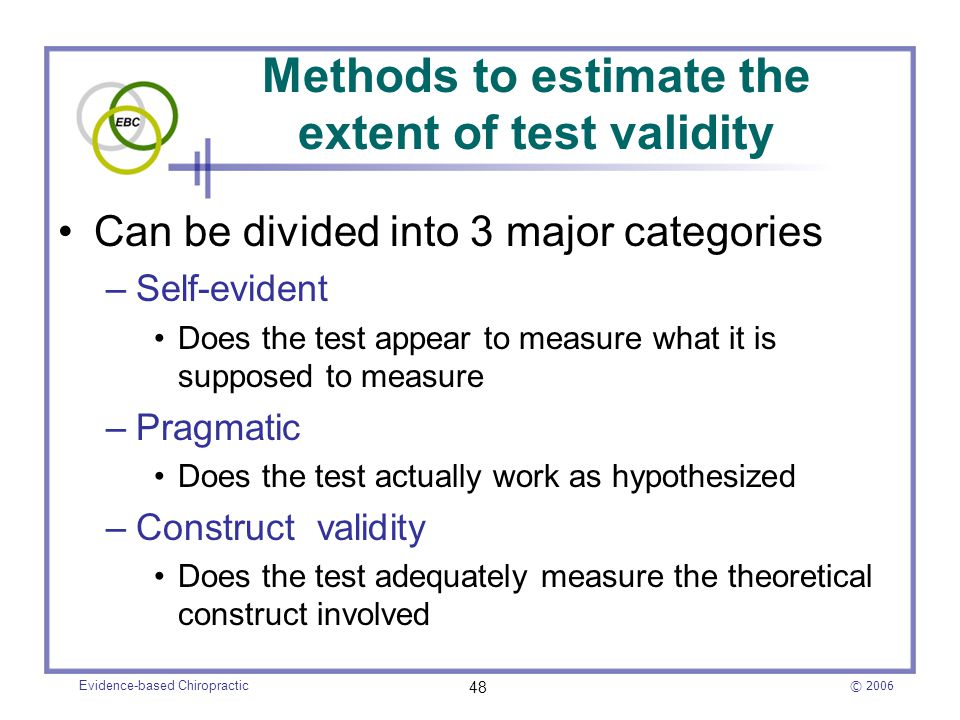Methods to estimate the extent of test validity