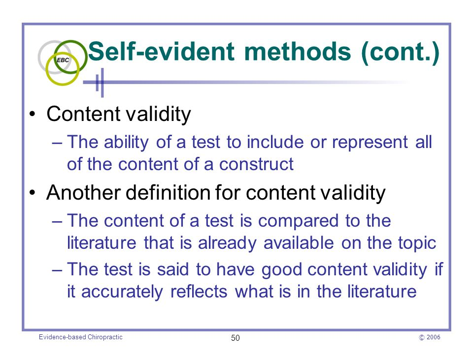 Self-evident methods (cont.)