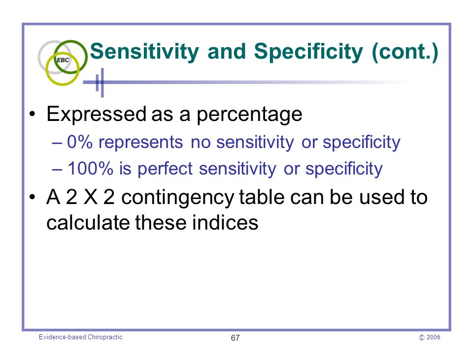 Sensitivity and Specificity (cont.)