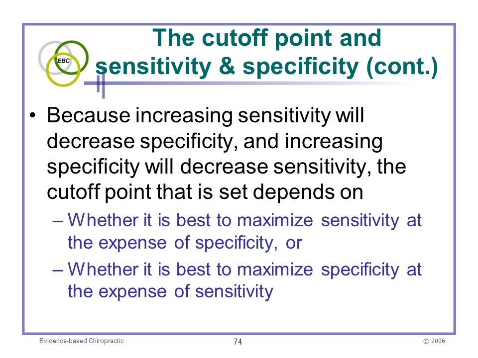 The cutoff point and sensitivity & specificity (cont.)