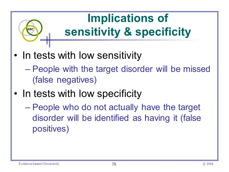 Implications of sensitivity & specificity