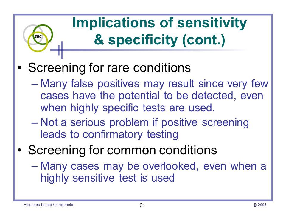 Implications of sensitivity & specificity (cont.)