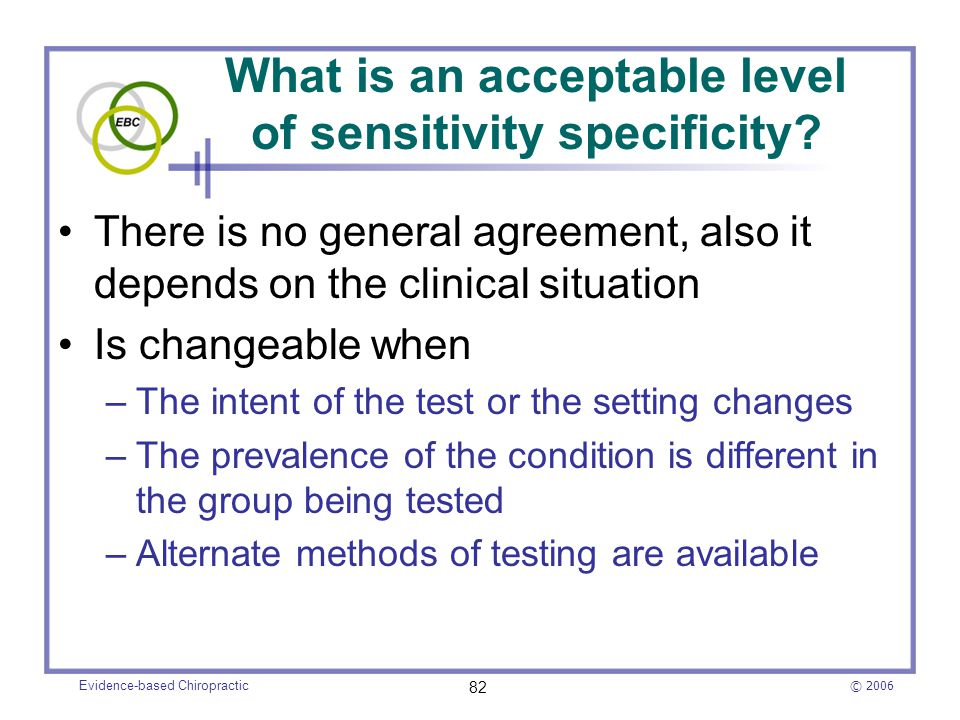 What is an acceptable level of sensitivity specificity