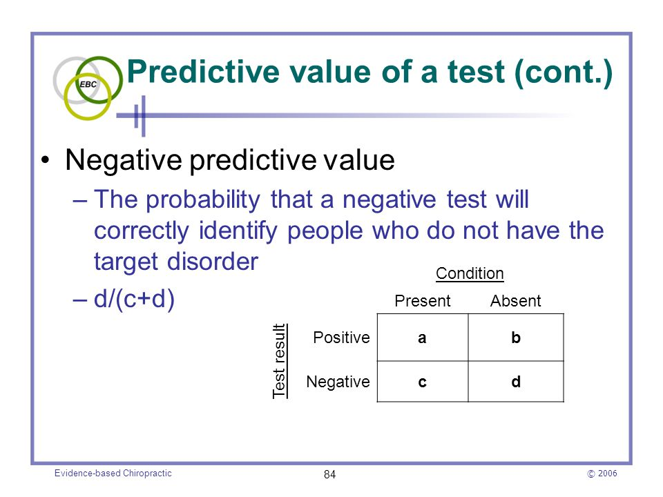 Predictive value of a test (cont.)
