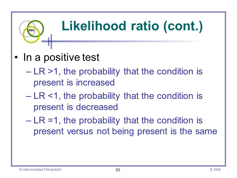 Likelihood ratio (cont.)