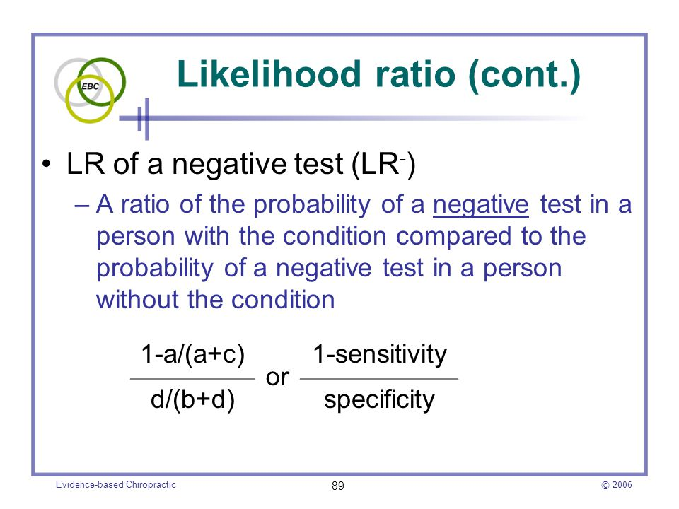 Likelihood ratio (cont.)